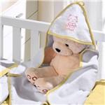 Toalha com Capuz Felpudo para Bebê Bordada com Viés Kitty Love Amarelo Buettner Baby