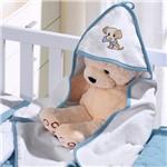 Toalha com Capuz Felpudo para Bebê Bordada com Viés Little Dog Azul Buettner Baby