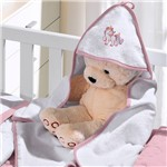 Toalha com Capuz Felpudo para Bebê Bordada com Viés Unicórnio Rosa Buettner Baby