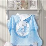 Toalha de Banho Bebê Menino Felpuda Döhler com Capuz Happy Baby Azul