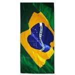 Toalha de Banho Bouton Veludo Bandeira do Brasil