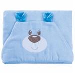 Toalha de Banho Carinhas com Capuz Bordado e Forro de Fralda 100% Algodão Ursinho Azul