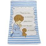 Toalha de Banho Infantil Masculina Azul Estampada Menino com Oração