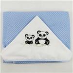 Toalha de Banho Masculina com Capuz Azul Clara Bordada Panda