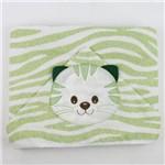 Toalha de Banho Masculina com Capuz Verde e Branca Bordada Tigre