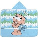 Toalha de Banho Turma da Mônica Baby 70 Cm X 90 Cm com Capuz e Forro de Fralda - Estampa Localizada Masculino