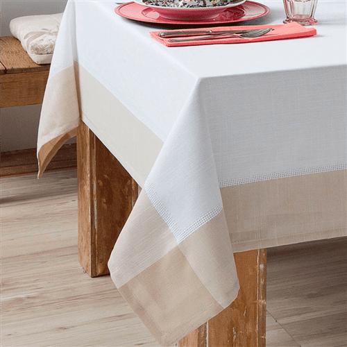 Toalha de Mesa Chamonix Branco/Bege 1,40X1,40 Quadrada