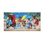 Toalha de Praia Aveludada Dogs At The Beach Dohler
