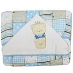 Toalha Fralda de Banho Masculino com Capuz Patchwork Azul Urso