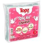 Toalha Fralda de Pano Estampa Menina Topz Baby Pacote com 3 Unidades