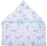 Tolha Soft com Capuz de Centro Ovelha Azul - 80 Cm X 90 Cm