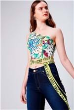 Top Cropped com Estampa Floral e Faixas