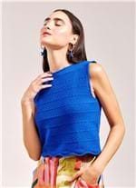 Top Cropped Tricot Chevron AZUL G