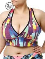 Top Fitness Plus Size Feminino Roxo/verde