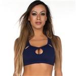 Top Fitness Power Fit em Poliamida Azul Marinho Dily Modas