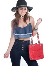 Top Jeans com Renda BL2556 - P
