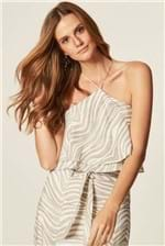 Top Mob Babado Estampa Animal Stripe - Cinza