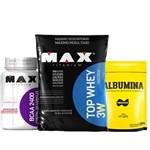 Top Whey 3w 1,8 Kg Vitamina de Frutas + Bcaa 60cap +albumina