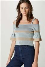 Tr Cropped Listra Bicolor Azul - G