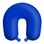 Travesseiro Almofada de Pescoço para Viagens e Descanso - Azul com Botão