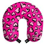 Travesseiro de Pescoço Almofada para Viagens Corações Rosas