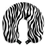 Travesseiro de Pescoço Zebra Almofada Apoio para Viagens e Descanso com Botão