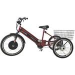 Triciclo Elétrico 800W com Pedal e Freio a Disco Vermelho Cereja