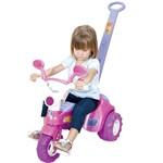 Triciclo Infantil Baby Music Rosa C/ Haste e Som - Cotiplás