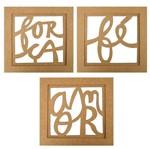 Trio de Quadros Decorativo em MDF Mensagem 30x30cm - Palácio da Arte