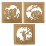 Trio de Quadros Decorativo em MDF Safari 30x30cm - Palácio da Arte