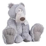 Urso Pelúcia Cinza Sentado 38cm - Regina