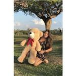 Urso Teddy Bear Grande Gigante Pelúcia Macio 110cm Nacional - Doce de Leite com Laço Vermelho