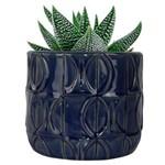 Vaso Ceramica Embossed Leaves Azul Indigo