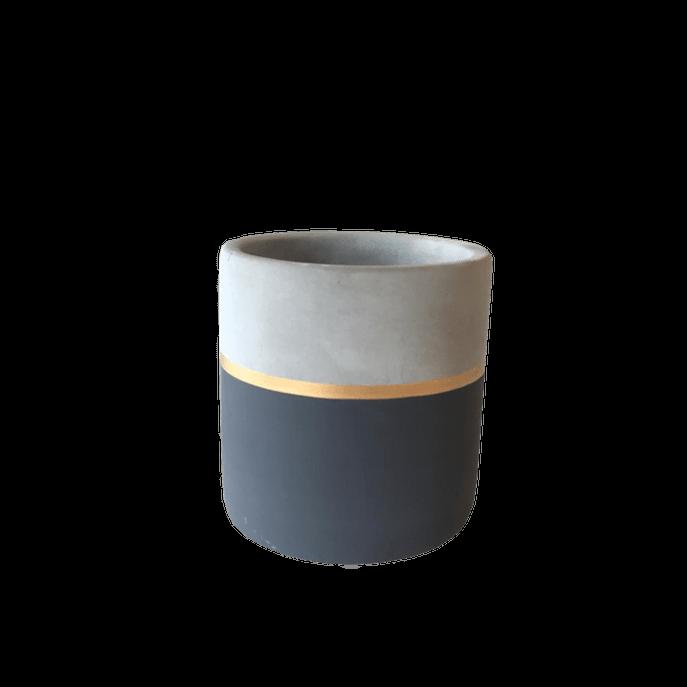 Vaso Cimento Listra Cinza Chumbo M ( 9 Cm X 10 Cm)