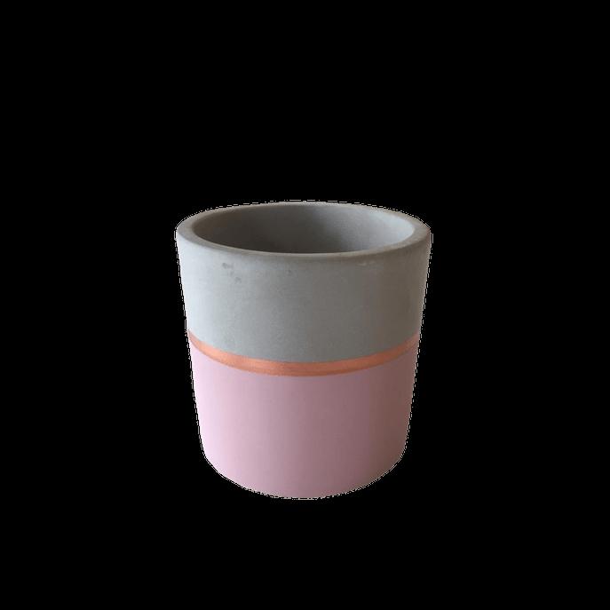 Vaso Cimento Listra Rosa M ( 9 Cm X 10 Cm)