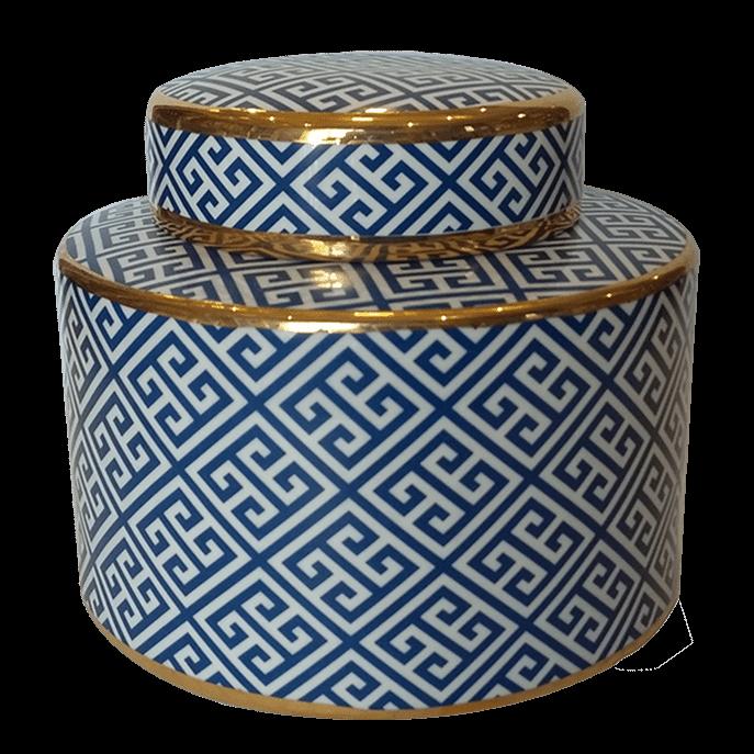 Vaso de Cerâmica Estampa Labirinto com Tampa Único