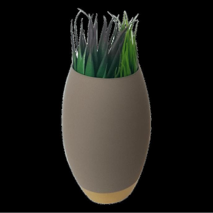 Vaso de Vidro Oval Cinza e Dourado M