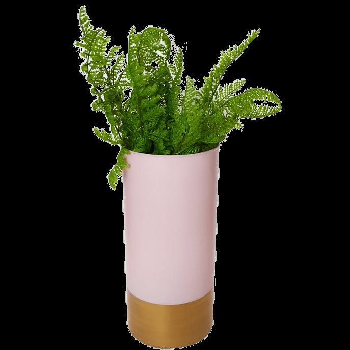 Vaso de Vidro Rosa e Dourado G