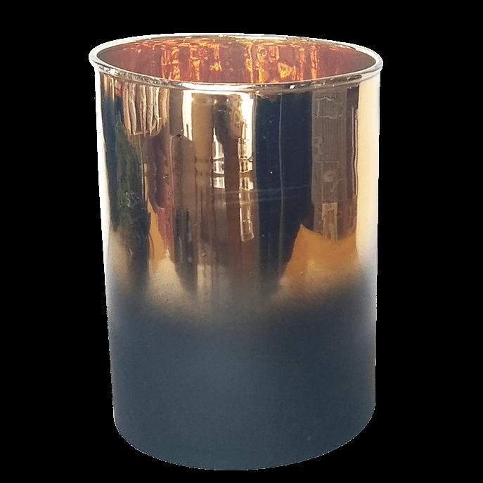 Vaso Degradê Preto e Dourado Espelhado P