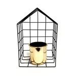 Vaso Dourado com Supporte Metalico