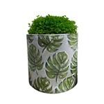 Vaso Embossed Green Leaves em Cerâmica - G 12,7x13,2 Cm - 41076