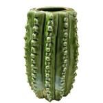 Vaso Hedge Cactus em Cerâmica - Pequeno - 20x12 Cm - Cor Verde - 40397