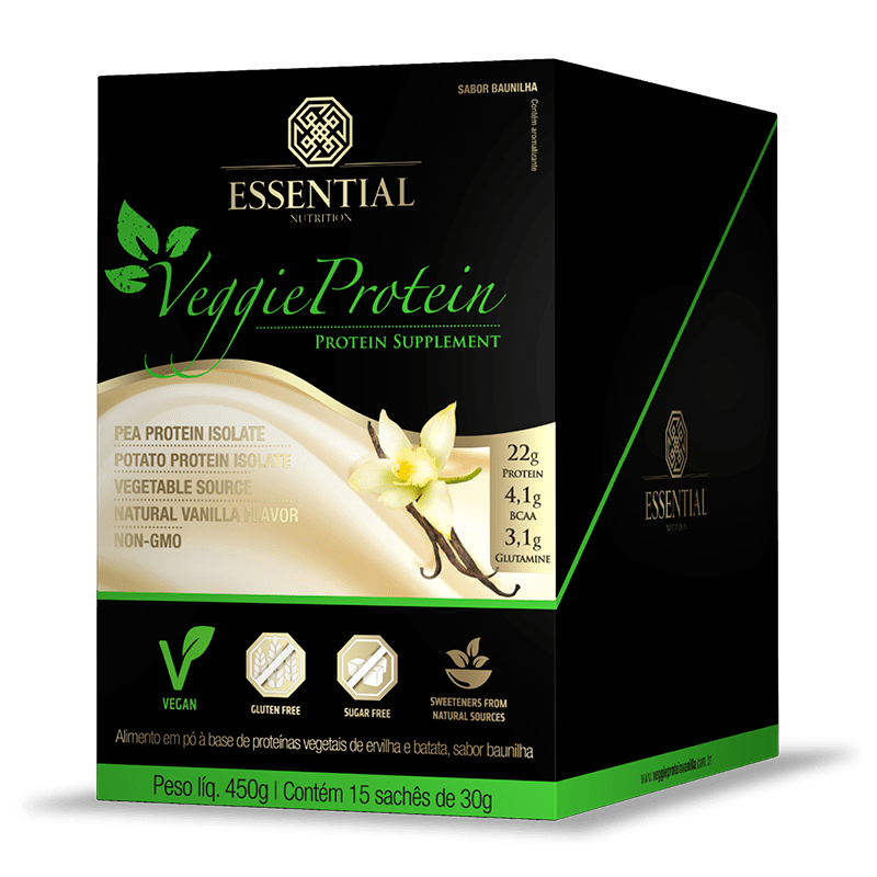 Veggie Protein (15 Sachês-30g) Essential Nutrition-Baunilha