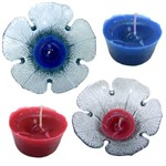 2 Vela Aromatizada Azul e Vermelho Base Formato Flor Vidro Decoração Praia Kit