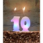 Vela de Aniversário Led C/ Glitter Branco - Número 0