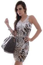 Vestido Animal Print com Renda VE0996 - M