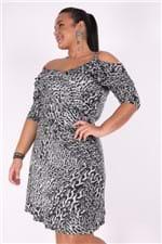 Vestido Animal Print Plus Size Cinza P