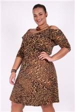 Vestido Animal Print Plus Size Marrom G