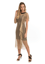 Vestido Arrastão Decote Tricot