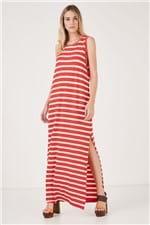 Vestido Básico Regata Tinto List Marina Vermelho Brasao/Areia Light - P